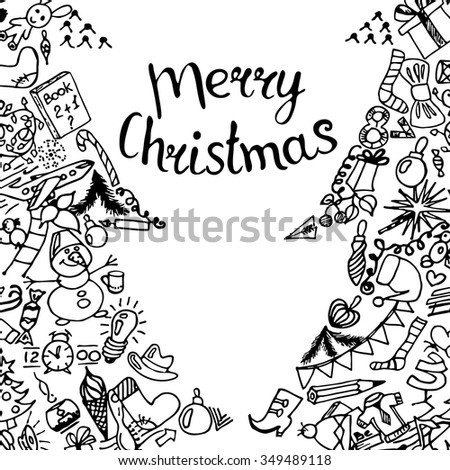 Vector illustration inscription Merry Christmas handmade. Xmas tree - Zen Tangle, dudling, black and white. - stock vector