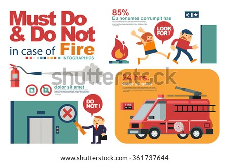 Vector Illustration Instruction for People's Safety in Fire or Emergency in  Workplace. - stock vector