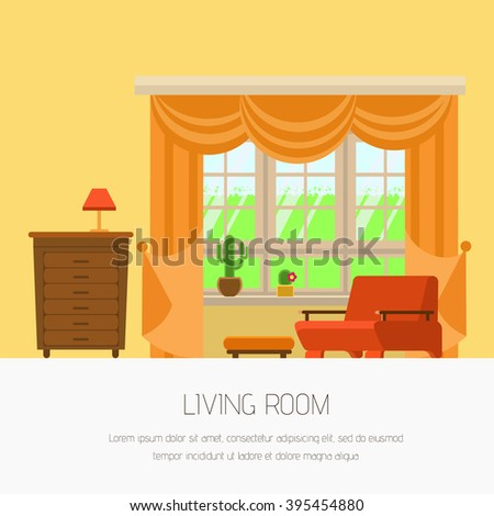 Vector illustration interior living room flat style. Interior furniture living room yellow tones: window, chair, bedside table, lamp.  Stylish and modern interior. Web banner  living room your design - stock vector