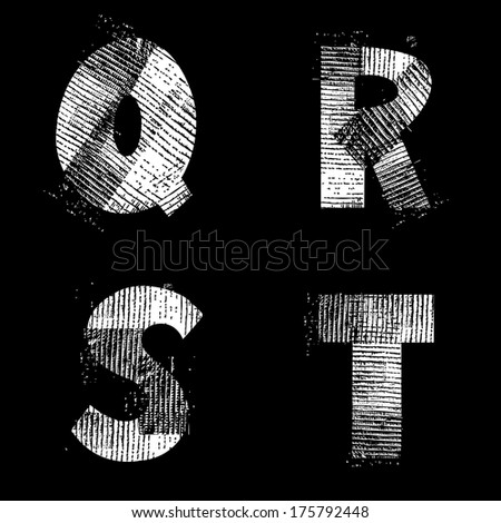 Vector Illustration, Isolated Alphabet, Industrial Style, QRST. Also see other available letters. - stock vector