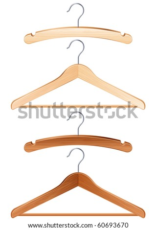 Vector illustration - isolated clothing hangers - stock vector