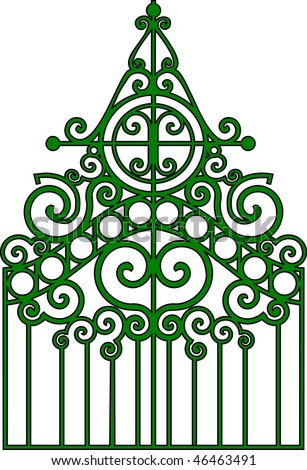 Vector illustration:isolated gothic ornamental wrought gates. - stock vector