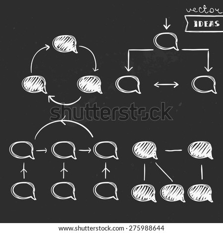 Vector illustration isolated on black, schematic flowcharts on chalkboard - stock vector