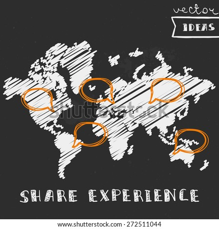 """Vector illustration isolated on black, world map with like icon in different locations, """"share experience"""" concept - stock vector"""