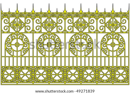 Vector illustration:isolated ornamental golden gates. - stock vector