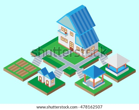 Vector illustration isometric buildings, house and land.