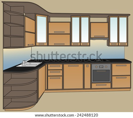 Vector illustration. Isometric view kitchen furniture. Extractor hood, cooking stove, oven, double sink and faucet. - stock vector
