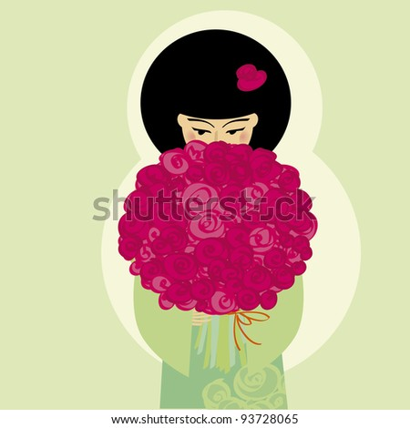vector illustration japan girl with flowers - stock vector