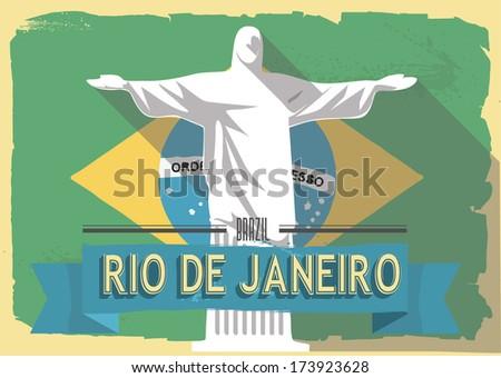 vector illustration jesus statue of rio de janeiro on retro style poster or postcard. - stock vector