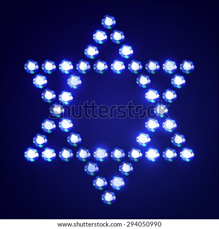 Vector Illustration: Jewish religious symbol 6-corners David Star made of blue diamonds isolated on blue background - stock vector