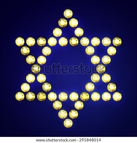 Vector Illustration: Jewish religious symbol 6-corners David Star made of golden diamonds isolated on dark blue background - stock vector