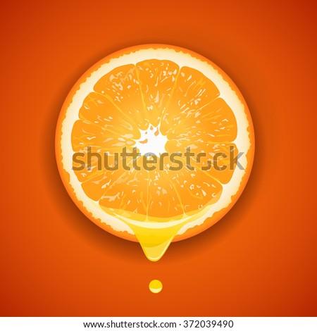 Vector illustration juice is derived from sliced orange - stock vector