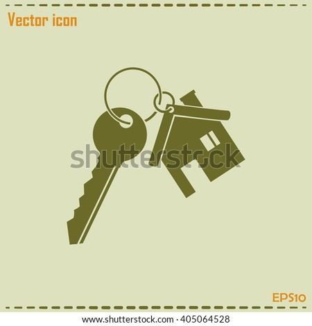Vector illustration keychain from home - stock vector