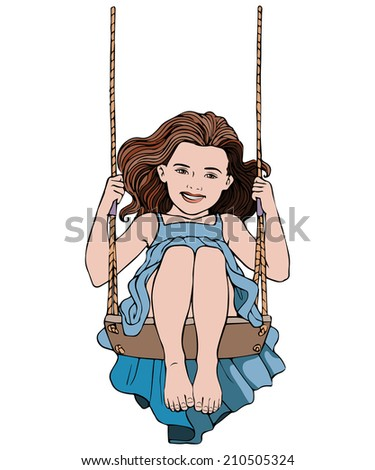 Vector illustration, kid in swing, cartoon concept, white background. - stock vector