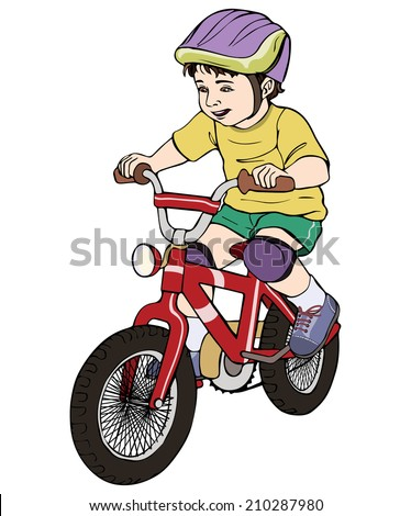 Vector illustration, kid on bicycle, cartoon concept, white background.