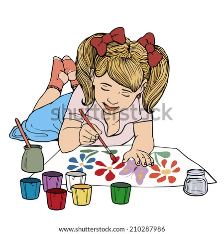 vector illustration kid painting cartoon concept white background - Picture For Kid Painting