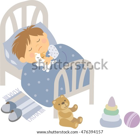 vector illustration kid's activity, a boy sleep in the bed