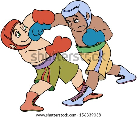 Vector illustration, kid's boxing match, cartoon concept, white background. - stock vector