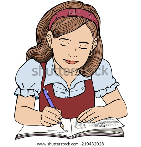 Vector illustration, kid writing, cartoon concept, white background.