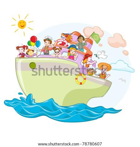 Vector illustration, kids on peace ship, card concept. - stock vector