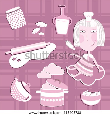 Vector illustration. Kitchen. - stock vector