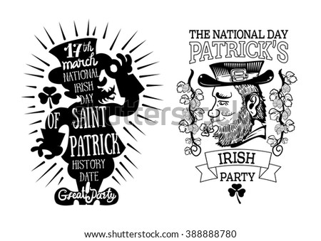 vector illustration label logotype to saint patrick's day with lettering, clover leaf on white background - stock vector