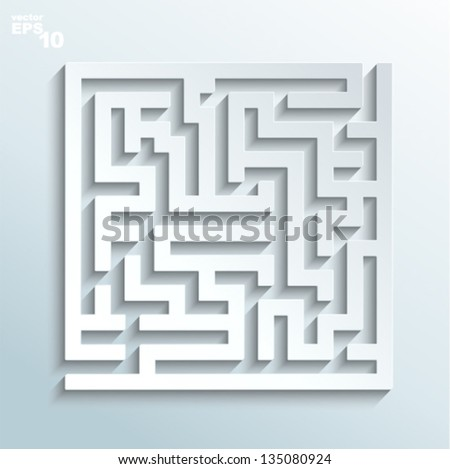 Vector illustration - labyrinth made of paper - stock vector