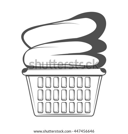 Vector Illustration Laundry Basket Clothes Stock Vector