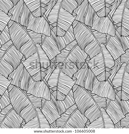 Vector illustration leaves of palm tree. Seamless pattern. - stock vector
