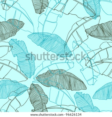 Vector illustration leaves of palm tree. Seamless pattern of lea - stock vector