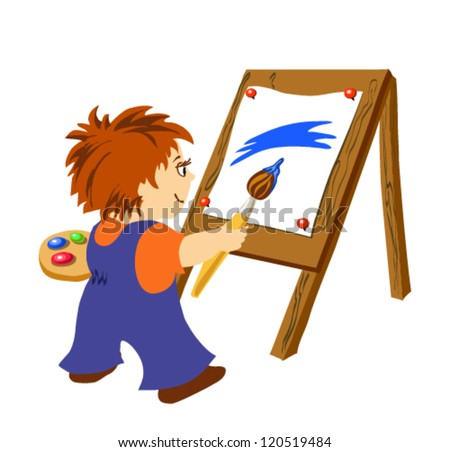 Vector illustration. Little boy drawing paints
