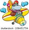 vector illustration -  little cartoon hippopotamus pilot in  plane on white background - stock vector