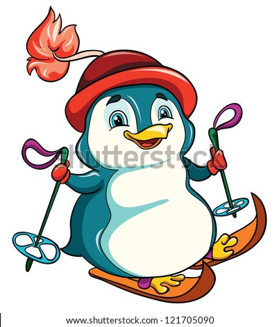 vector illustration-  little funny cartoon penguin in hat skiing on white background - stock vector