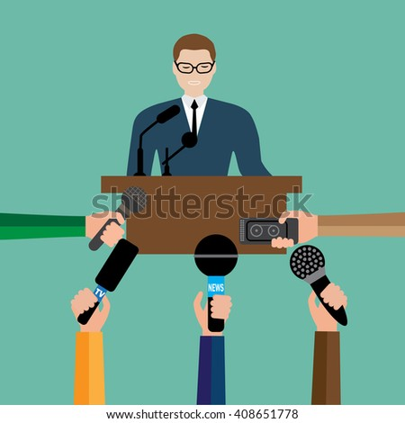 Vector illustration live report concept, live news, hands of journalists with microphones and tape recorders. - stock vector