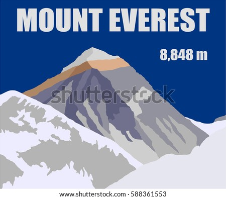 vector illustration logo of Mount Everest 8,848 m with text, geological structure, Sagarmatha national park, Khumbu valley, Nepal