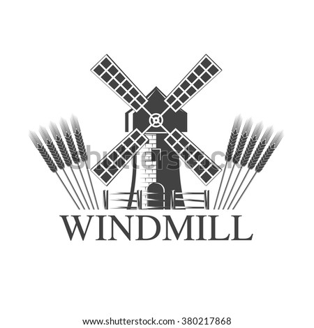 vector illustration logo windmill is isolated on a white background. Windmill Logo - stock vector