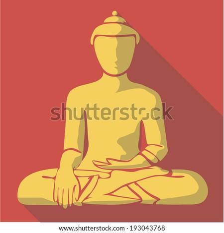 Vector illustration long shadow flat icon of buddha - stock vector