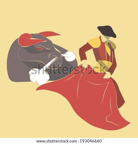 Vector illustration long shadow flat icon of bull fight - stock vector