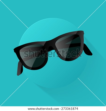 Vector illustration long shadow flat icon of glasses - stock vector