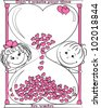 vector illustration love man and woman look out for the hourglass - stock vector