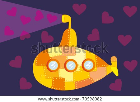 Vector illustration. Love submarine - stock vector
