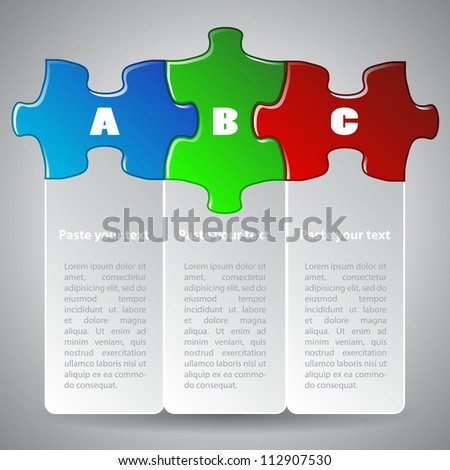 Vector illustration made from three colorful puzzle pieces - stock vector