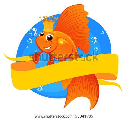 vector illustration magic goldfish with banner - stock vector