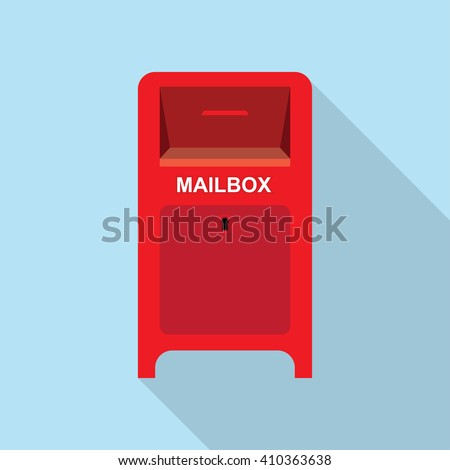 Vector illustration Mailbox Flat background. Red Street Postbox - stock vector