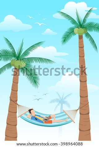 vector illustration,man chilling using laptop in a hammock on beach under two coconuts tree,cartoon flat style - stock vector