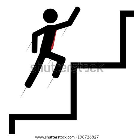 Vector / illustration. Man flying up on the stairs.