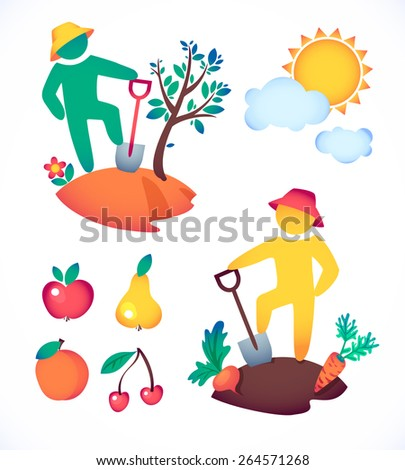 vector illustration man planting a tree and admire the sun.  gardener and his garden under the hot sun  - stock vector