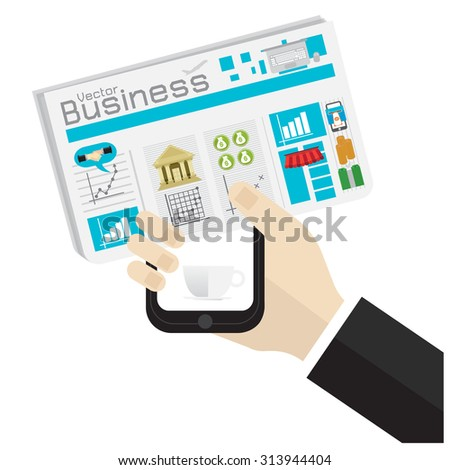vector illustration Man reading a newspaper on white background