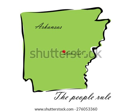 Vector illustration map Arkansas is one of the states of America isolated on a white background - stock vector