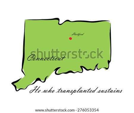 Vector illustration map Connecticut is one of the states of America isolated on a white background - stock vector